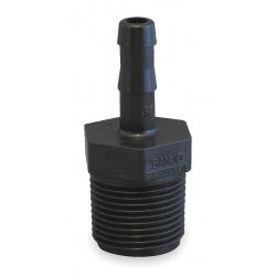 Banjo - HB075-038 - Barbed x MNPT Adapter, Polypropylene, 3/8 Barb Size, Black