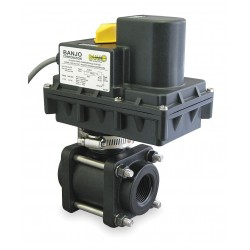 Banjo - EV100FP - Polypropylene Electronic Actuated Ball Valve, 1 Pipe Size, 12VDC Voltage