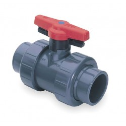 Spears - 1829-012 - PVC Socket/FNPT x Socket/FNPT Ball Valve, Locking Tee, 1-1/4 Pipe Size