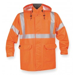 Nasco - 4503JFO3 - Arc Flash Rain Jacket W/Hd, 3XL, HiVis Orn