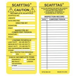 Brady - 104114 - Scafftag Std Inserts 3 1/4x7 5/8 Yellow