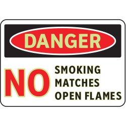 Brady - 102450 - No Smoking, Danger, Vinyl, 7 x 10, Adhesive Surface, Not Retroreflective