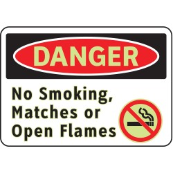 Brady - 102451 - No Smoking, Danger, Vinyl, 7 x 10, Adhesive Surface, Not Retroreflective