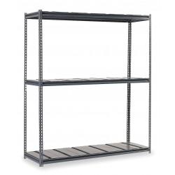 Edsal - BSR127 - 96 x 24 x 84 Steel Boltless Shelving Starter Unit, Gray; Number of Shelves: 3