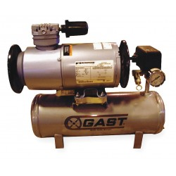 Gast - 1LAA-246T-M100GX - 1/6 HP, 2 gal. Horizontal Oil-less Tank Mounted Electric Air Compressor