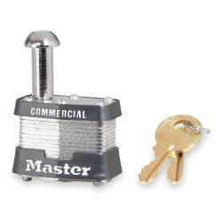 "Master Lock - 443LE - Different-Keyed Padlock, Open Shackle Type, 7/8"" Shackle Height, Silver"