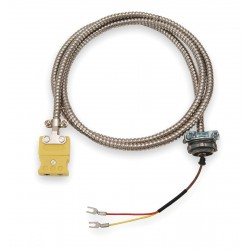 Tempco - ECA00081 - 50 ft. Stranded, Nylon K Wire Thermocouple Cable Assemblies with 20 AWG Wire Size, Silver Over Red/Y