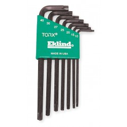 Eklind Tool - 10707 - Long L-Shaped Torx Black Oxide Tamper Resistant Torx Key Set, Number of Pieces: 7