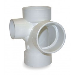 Mueller Industries - 05784 - PVC Sanitary Tee with Left Side Inlet, Hub, 4 x 4 x 4 x 2 Pipe Size - Pipe Fitting