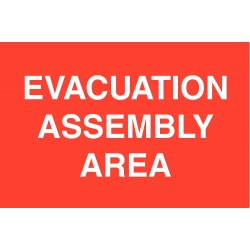 Brady - 95505 - Brady 14 X 20 X .035 White On Red .035 B-555 Aluminum Safety Sign EVACUATION ASSEMBLY AREA, ( Each )