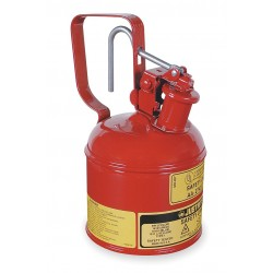 Justrite - 10001 - Justrite 1 Pint Red Galvanized Steel Type I Safety Can With 3-1/2' Stainless Steel Flame Arrester (For Flammables), ( Each )