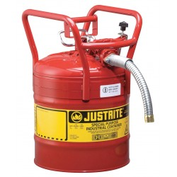 "Justrite - 7350130 - Justrite 5 Gallon Red AccuFlow Galvanized Steel Type II Vented Safety Can With Flame Arrester, 1"" Metal Hose And Roll Bar (For Flammables)"
