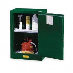 Justrite - 891204 - Justrite 12 Gallon Green Sure-Grip EX 18 Gauge Cold Rolled Steel Compact Safety Cabinet With (1) Manual Close Door And (1) Adjustable Shelf (For Pesticides)