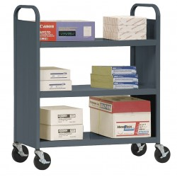 Sandusky Lee - SF336-02 - 20 Gauge Steel Book Truck with 3 Flat Shelves, Charcoal