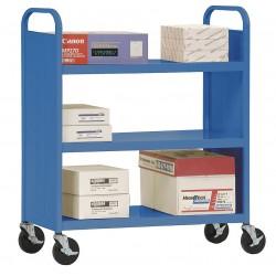 Sandusky Lee - SF33606 - Sandusky Lee SF336 Flat-Shelf Book Truck - 3 Shelf - 37 Width x 18 Depth x 42 Height - Blue