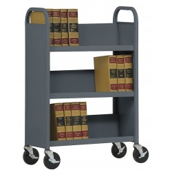 Sandusky Lee - SL330-02 - 20 Gauge Steel Book Truck with 3 Sloped Shelves, Charcoal