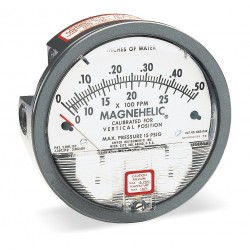 Dwyer Instruments - 2000-00AV - 1/8 FNPT Differential Pressure Gauge with 4 Dial, 0 to 0.25 In. H2O, Die Cast Aluminum