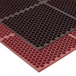 Apex Tool - T15S0033RD - Interlocking Drainage Mat, Nitrile, Red, 3 ft. x 3 ft., 1 EA