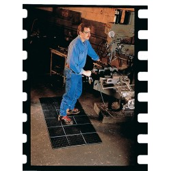 Wearwell / Tennessee Mat - 472 - Interlocking Drainage Mat, Nitrile, Black, 3 ft. x 3 ft., 1 EA