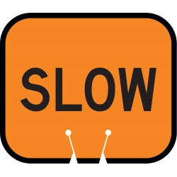 Tapco - 535-00014 - Traffic Cone Sign, Orng/Blk, Slow Traffic
