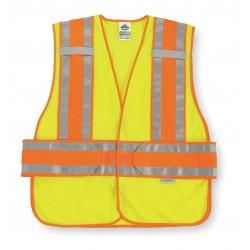 "Ergodyne - 21394 - Ergodyne Medium - Large Hi-Viz Lime GloWear 8240HL 3.3 oz Polyester Mesh Class 2 Two-Tone Expandable Vest With Hook And Loop Closure And 3M Scotchlite 1"" Level 2 Reflective Tape And 1 Pocket"
