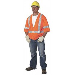 Ergodyne - 22113 - Orange/Red with Silver Stripe High Visibility Vest, ANSI 3, Zipper Closure, S/M