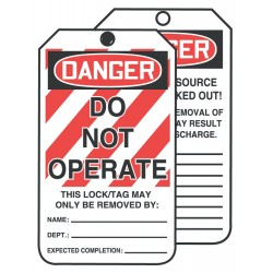 Accuform Signs - TAR125 - Accuform Signs 6 1/4' X 3' Red, Black And White 10 mil PF-Cardstock English Safety Tags By-The-Roll 'DANGER DO NOT OPERATE (LOCK OUT TAG)' With 3/8' Plain Hole (250 Per Roll), ( Each )