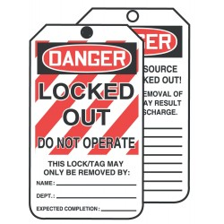 Accuform Signs - TAR426 - Accuform Signs 6 1/4' X 3' Red, Black And White 10 mil PF-Cardstock English Safety Tags By-The-Roll 'DANGER LOCKED OUT DO NOT OPERATE' With 3/8' Plain Hole (250 Per Roll), ( Roll )
