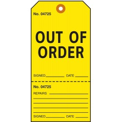 Electromark - T392 - Danger Tag, Out of Service/Order, Cardstock, 5-3/4 x 2-7/8