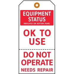 Electromark - Y602700 - Cardstock OK To Use, Do Not Operate Needs Repair Equipment Status Tag, 5-3/4 Height, 2-7/8 Width