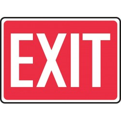 Accuform Signs - MEXT518VP - Accuform MEXT518VP Safety Sign, Exit (white/red), 10 X 14, Plastic