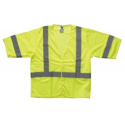 "Ergodyne - 22023 - Ergodyne Small - Medium Hi-Viz Lime GloWear 8310HL Economy 3.3 oz Polyester Mesh Class 3 Vest With Front Hook And Loop Closure And 2"" Level 2 Reflective Tape And 1 Pocket"