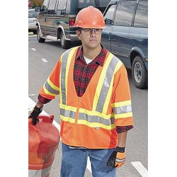 Ergodyne - 22173 - Orange/Red with Yellow/Green Stripe High Visibility Vest, ANSI 3, Zipper Closure, S/M