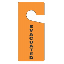 Accuform Signs - TAD838 - Accuform Signs 9' X 4' Black And Orange 0.015' RP-Plastic English Door Knob Tag 'EVACUATED', ( Each )