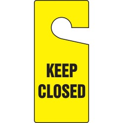 "Accuform Signs - TAD842 - Plastic, Keep Closed Door Knob Hanger Tag, 9"" Height, 4"" Width"