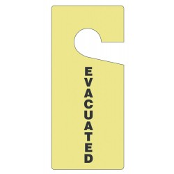 "Accuform Signs - TAD201 - Polycarbonate, Evacuated Door Knob Hanger Tag, 9"" Height, 4"" Width"