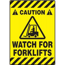 Accuform Signs - PSR620 - Info Sign Watch For Forklifts Floor 14 In Wx20 In L Self Adhesive, Ea