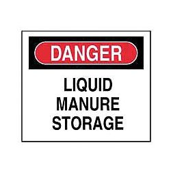 Accuform Signs - XD222 - Danger Sign Liquid Manure Storage 10 In Hx14 In W Polyethylene, Ea