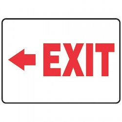 Accuform Signs - MADM927VS - Emergency Sign Exit Left 10x14 Self Adhesive Accuform Mfg Inc, Ea