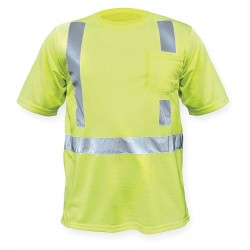 Utility Pro Wear - UHV 301L 5X - Lime Polyester, DuPont(TM) PTFE fabric protector T-Shirt, Size: 5XL, ANSI Class 2