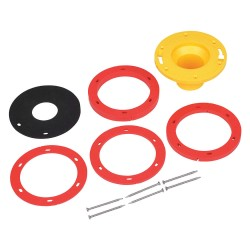Oatey - 43400 - Cast Iron, Stainless Steel Toilet Flange Kit, Black, Red, Yellow, For Use With Most Toilets