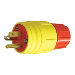 Ericsson - 2324-PW6P-AM - 20A Industrial Grade Shrouded Watertight Locking Plug, Yellow; NEMA Configuration: L16-20P
