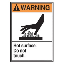 Accuform Signs - LWLD306VSP - Hot, Vinyl, 5 x 3-1/2, Surface