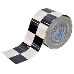 Brady - 121915 - Aisle Marking Tape, Checkered, Continuous Roll, 4 Width, 1 EA