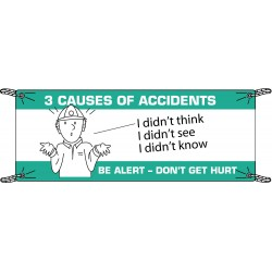 Brady - 106313 - Brady 3.5' X 10' X .055 Black/Green On White .0551 Polyethylene Safety Banner 3 CAUSES OF ACCIDENTS I DIDN'T THINK I DIDN'T SEE I DIDN'T KNOW, ( Each )