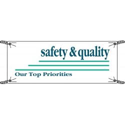 Brady - 106328 - Brady 3.5' X 10' X .055 Blue On White .0551 Polyethylene Safety Banner SAFETY And QUALITY OUR TOP PRIORITIES, ( Each )