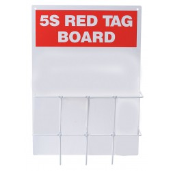 Brady - 122051 - Red/WhiteRed Tag Binder Station, Unfilled, 14 x 20, Polycarbonate Backboard with Wire Rack