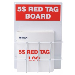 Brady - 122053 - Red/WhiteRed Tag Binder Station, Filled, 14 x 20, Polycarbonate Backboard with Wire Rack