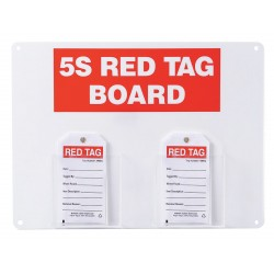 Brady - 122054 - Red/WhiteRed Tag Station, Filled, 12 x 16, Acrylic Board with Paper Tags