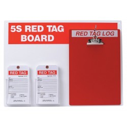 Brady - 122057 - Red/WhiteRed Tag Station, Filled, 16 x 22, Acrylic Board with Paper Tags